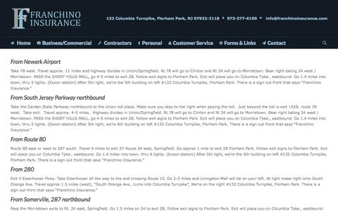 Screenshot of Maps & Directions Page franchinoinsurance.com - Directions to Franchino Insurance Agency   Franchino Insurance - captured Sept. 30, 2014