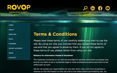Screenshot of Terms Page rovop.com - ROVOP - Terms & Conditions - captured Sept. 17, 2014