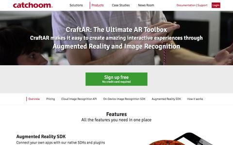 Screenshot of Products Page catchoom.com - CraftAR: Augmented Reality and Image Recognition toolbox - captured Dec. 3, 2015