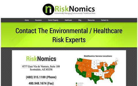 Screenshot of Contact Page risknomicsllc.com - Contact Us - captured Sept. 30, 2014