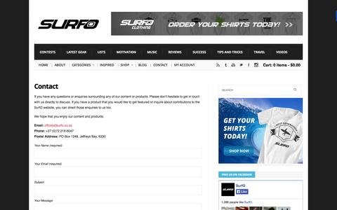 Screenshot of Contact Page surfo.co.za - Contact | SurfO - captured Oct. 7, 2014