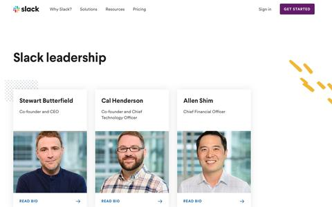 Screenshot of Team Page slack.com - Leadership | Slack - captured March 18, 2019
