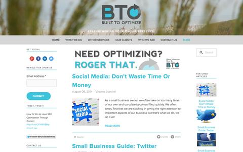 Screenshot of Blog builttooptimize.com - Blog — Built To Optimize - captured Sept. 30, 2014