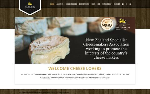 Screenshot of Home Page nzsca.org.nz - New Zealand Specialist Cheesemakers Association | Official website of the New Zealand Specialist Cheesemakers Association. A place for cheese companies and cheese lovers alike. - captured Feb. 18, 2018