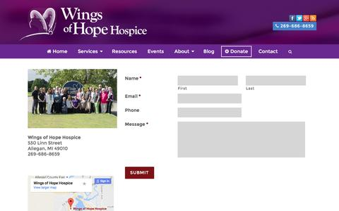 Screenshot of Contact Page wingsofhopehospice.com - Contact | Wings of Hope Hospice - captured Aug. 13, 2016