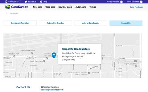 Screenshot of Contact Page carsdirect.com - Contact Us - CarsDirect.com - captured Sept. 20, 2019