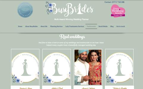 Screenshot of Testimonials Page busybrides.co.uk - BusyBrides Wedding Planners | Real Weddings - captured Oct. 23, 2018