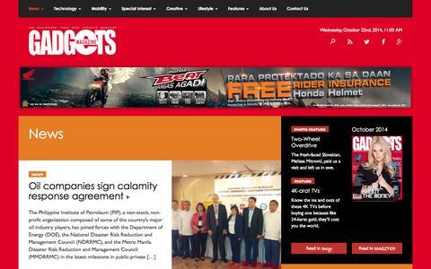 Screenshot of Press Page gadgetsmagazine.com.ph - News | Gadgets Magazine Philippines - captured Oct. 22, 2014