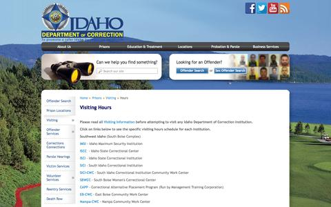 Screenshot of Hours Page idaho.gov - Visiting Hours | Idaho Department of Correction - captured Sept. 18, 2014