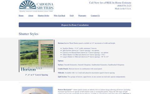 Screenshot of Services Page carolinashutters.com - Carolina Shutters Inc - captured May 15, 2017