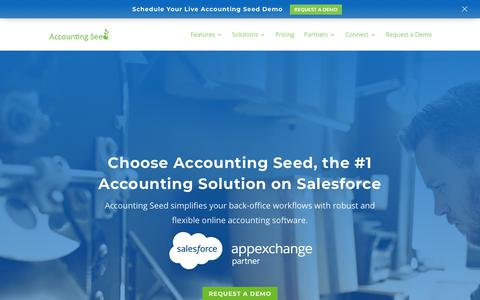 Screenshot of Home Page Trial Page accountingseed.com - Accounting Seed - Salesforce Accounting Software Application - captured Sept. 9, 2018