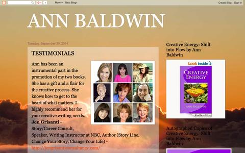 Screenshot of Testimonials Page annbaldwin.net - ANN BALDWIN: TESTIMONIALS - captured Feb. 6, 2016