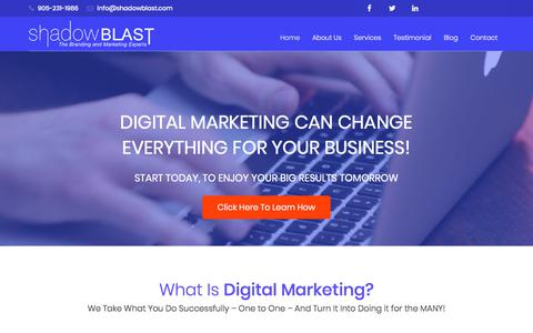 Screenshot of Home Page shadowblast.com - Shadowblast - Home of the branding and digital marketing agency - captured Sept. 21, 2018