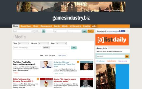 Screenshot of Press Page gamesindustry.biz - Media Archive  | GamesIndustry.biz - captured Jan. 13, 2016