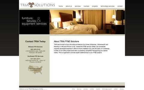 Screenshot of About Page tria-ffe.com - About - FF&E Projects Minnesota | Arizona FF&E Services - TRIA FF&E Solutions - captured Oct. 7, 2014