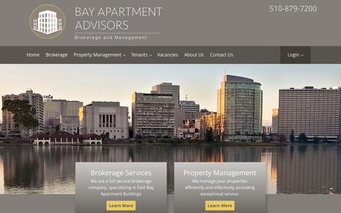 Screenshot of Home Page bayaptadvisors.com - East Bay Apartment Management Specialists - captured Feb. 7, 2016