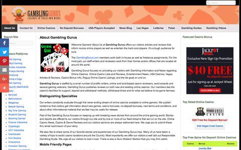 Screenshot of About Page gamblinggurus.com - About Us at GamblingGurus.com | Mobile Friendly Online Casino Pages - captured June 15, 2018