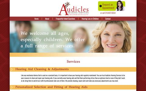 Screenshot of Services Page audicles.com - Audicles Hearing Services - captured Oct. 4, 2018