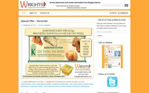 Screenshot of Blog Press Page wrights-dairies.co.uk - Wrights Dairies Blog   DELIVERING THE WRIGHT WAY FOR YOU - captured Aug. 17, 2016
