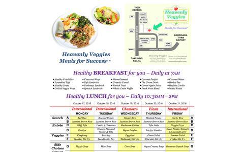 Screenshot of Menu Page heavenlyveggies.com - Heavenly Veggies - Meals for Success - GUAM, USA - captured Oct. 17, 2016