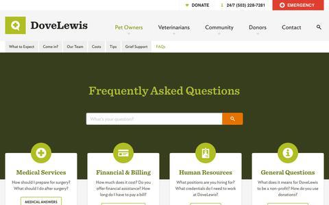 Screenshot of FAQ Page dovelewis.org - DoveLewis - Emergency Veterinary Animal Hospital - Open 24/7 - captured Nov. 14, 2018