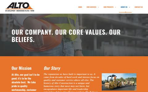Screenshot of About Page altoconstruction.com - About Alto Construction - Alto Company History - captured Oct. 3, 2018