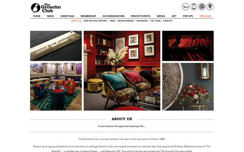 Screenshot of About Page thegrouchoclub.com - About Us - Groucho Club - captured Jan. 2, 2018