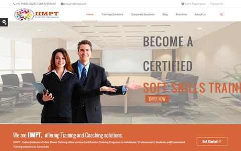 Screenshot of Home Page iimpt.com - Soft Skills Training, Life Coach Training, Training Certification, Corporate Training, NLP, - captured Sept. 12, 2015