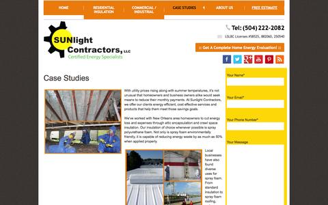 Screenshot of Case Studies Page sunlightcontractors.com - Case Studies - - captured Nov. 5, 2014