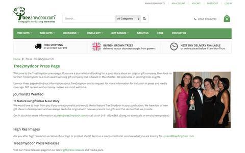 Screenshot of Press Page tree2mydoor.com - Press - Tree2MyDoor UK - captured Sept. 5, 2016
