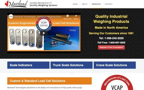 Screenshot of Products Page massload.com - Massload: Canadian Manufacturer of Custom & Standard Load Cells - captured Oct. 22, 2018