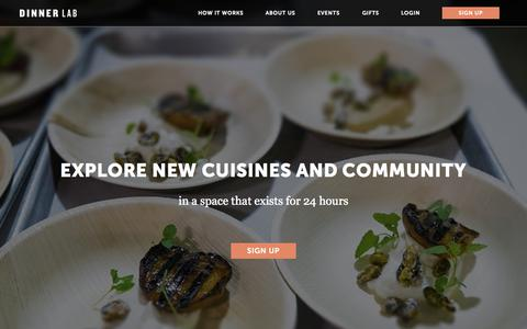 Screenshot of Home Page dinnerlab.com - Welcome | Dinner Lab - captured Oct. 7, 2015