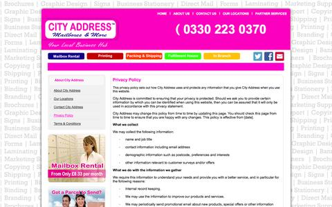 Screenshot of Privacy Page cityaddress.co.uk - Privacy Policy - captured Sept. 25, 2014