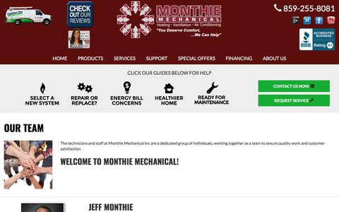 Screenshot of Team Page monthiemechanical.com - About Us - Monthie Mechanical Inc, Lexington, KY 40511 - Carrier - captured Oct. 20, 2017