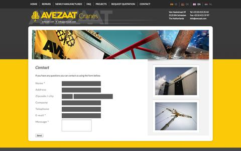 Screenshot of Contact Page avezaat.com - Contact - Avezaat Cranes - captured Oct. 4, 2014