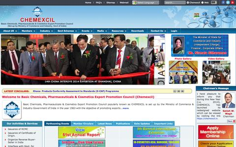 Screenshot of Home Page Site Map Page chemexcil.in - Basic Chemicals, Pharmaceuticals & Cosmetics Export Promotion Council(Chemexcil) - captured Sept. 29, 2014