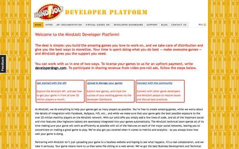 Screenshot of Developers Page mindjolt.com - MindJolt Developer Platform — The platform behind mindjolt.com - captured Sept. 16, 2014