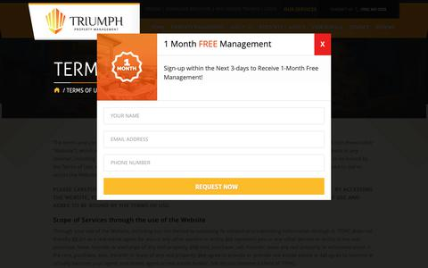 Screenshot of Terms Page triumphpropertymanagement.com - Terms of Use - Triumph Property Management - Las Vegas - captured Oct. 20, 2018