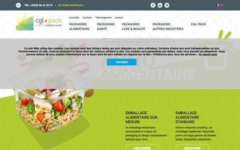 Screenshot of Home Page cglpack.com - CGL Pack, Packaging & Emballage plastique sur-mesure et standard - captured Dec. 7, 2018