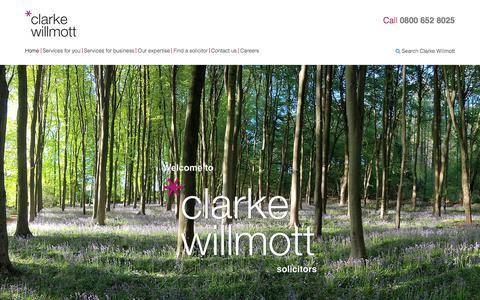 Screenshot of Home Page clarkewillmott.com - Clarke Willmott - Solicitors - Lawyers - National Law Firm - captured July 18, 2018