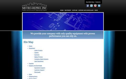 Screenshot of Site Map Page metrorepro.com - Metro-Repro - Site Map - captured Oct. 27, 2014
