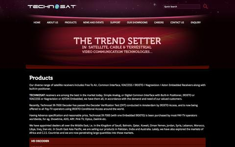 Screenshot of Products Page technosat.com - TECHNOSAT - captured Sept. 23, 2014