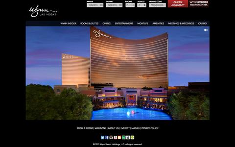 Screenshot of Home Page wynnlasvegas.com - Las Vegas Luxury Hotels | Wynn Las Vegas & Encore Resort - captured Sept. 28, 2015