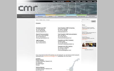 Screenshot of Contact Page cmr.no - Contact -    CMR Portal - captured Oct. 2, 2014