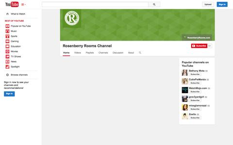 Screenshot of YouTube Page youtube.com - Rosenberry Rooms Channel  - YouTube - captured Oct. 31, 2014