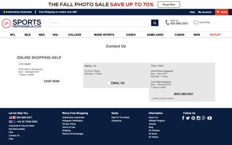 Screenshot of Contact Page sportsmemorabilia.com - Contact Us | Autographed Sports Memorabilia and Sports Collectibles at Home - captured Oct. 11, 2018