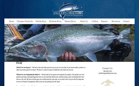 Screenshot of FAQ Page anglersobsession.com - WA Fly Fishing Trips near Seattle | WA Fly Fishing Guides - captured Oct. 22, 2018