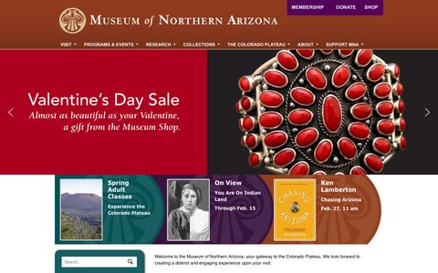 Screenshot of Home Page musnaz.org - Museum of Northern Arizona - The Gateway to the Colorado Plateau - captured Feb. 15, 2016