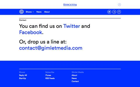 Screenshot of Contact Page gimletmedia.com - Contact — Gimlet Media - captured Dec. 16, 2014