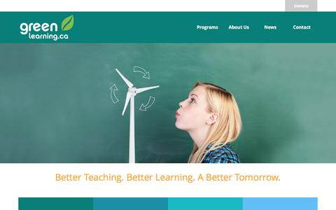 Screenshot of Home Page greenlearning.ca - Home - Green Learning - captured Sept. 25, 2016